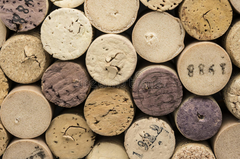 Dated wine bottle corks. Close up shot of dated wine bottle corks royalty free stock photo