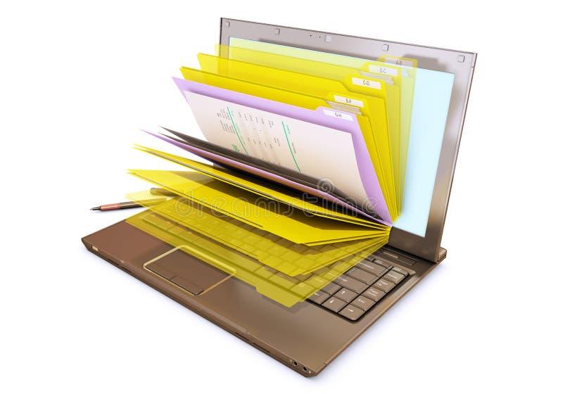 Datei in der Datenbank - Laptop mit Ordnern lizenzfreies stockbild