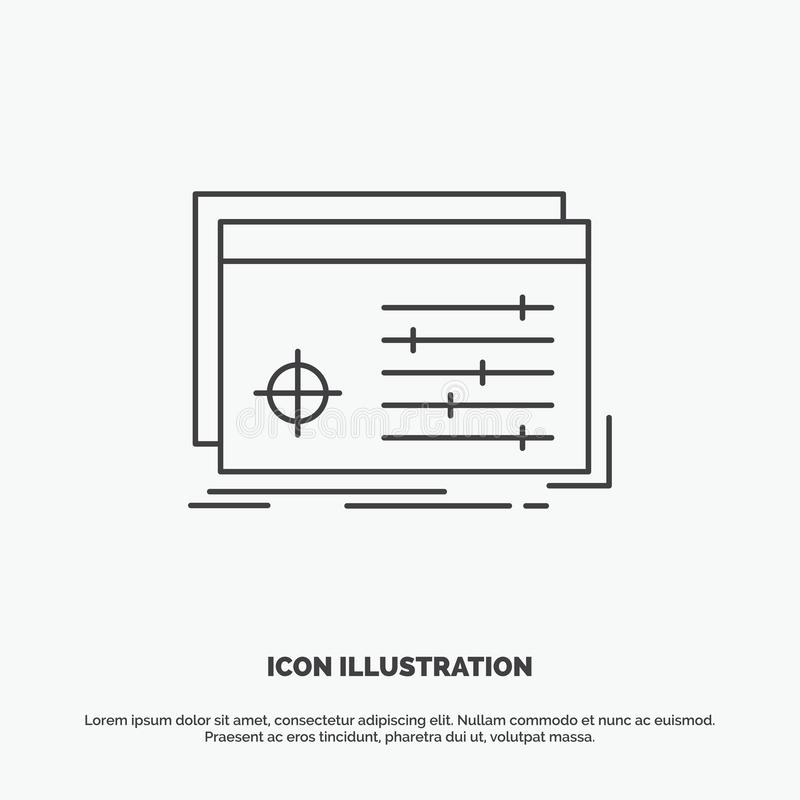 Datei, Gegenstand, verarbeitend, Einstellungen, Software Ikone r stock abbildung