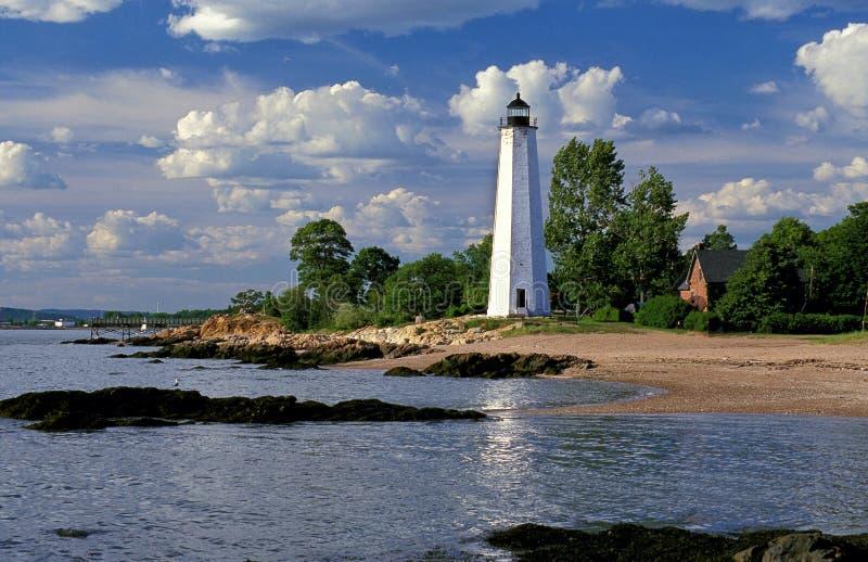 Datei-Meilen-Punkt-Leuchtturm in New-Haven, CT lizenzfreies stockbild