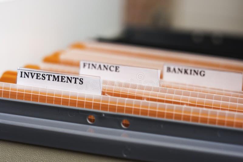 Datei-Ordner-beschriftete Investitionen stockbild