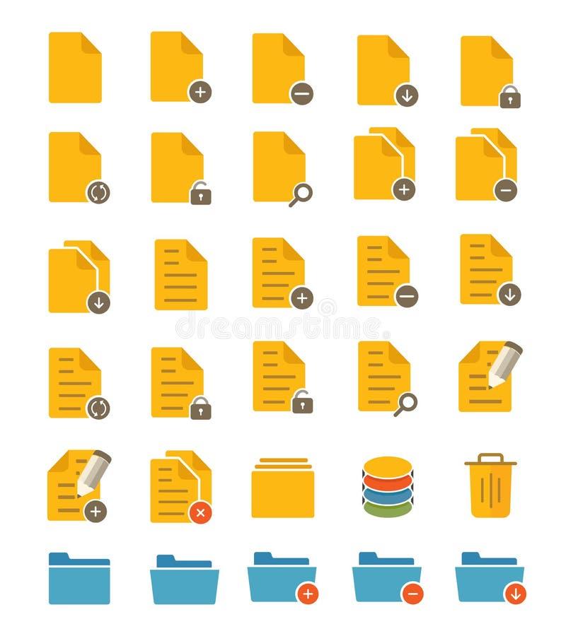 Datei-und Ordner-Ikonen lizenzfreie abbildung