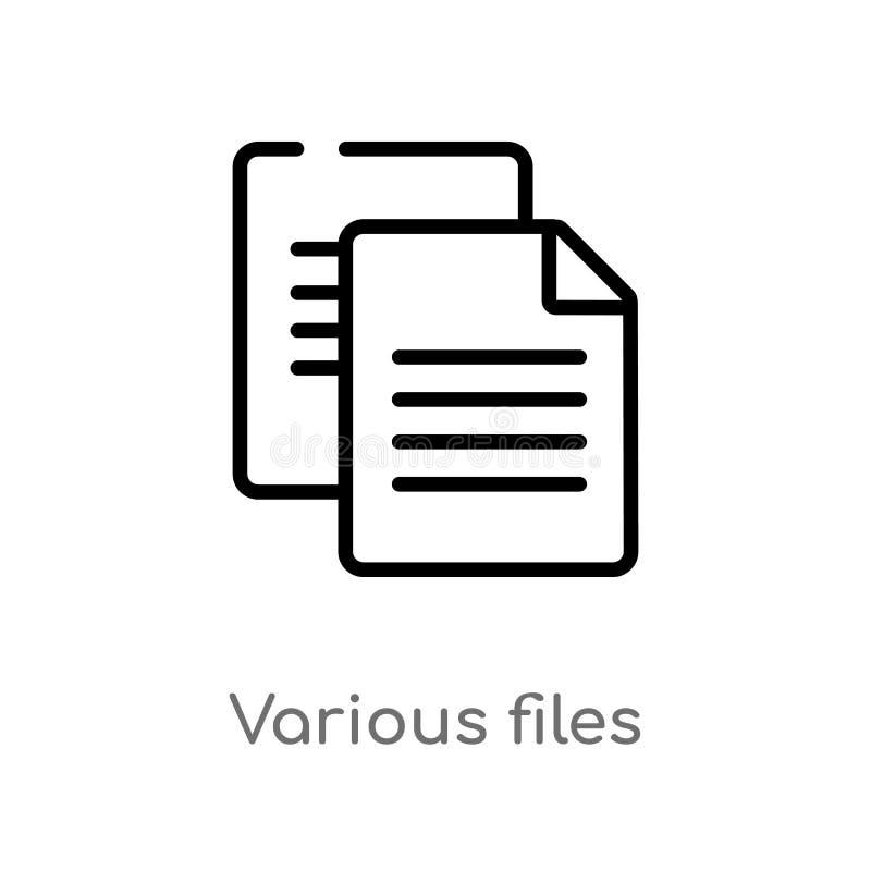 Datei-Vektorikone des Entwurfs verschiedene lokalisiertes schwarzes einfaches Linienelementillustration vom Ausbildungskonzept Ed lizenzfreie abbildung