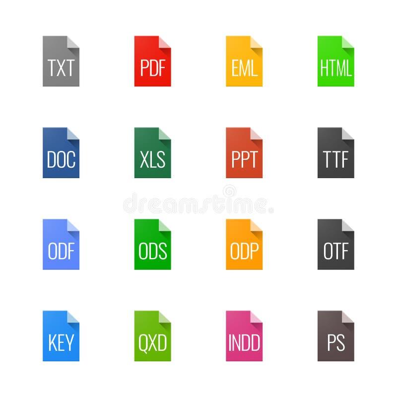 Dateiart Ikonen - Texte, Güsse und Seitenaufstellung stock abbildung