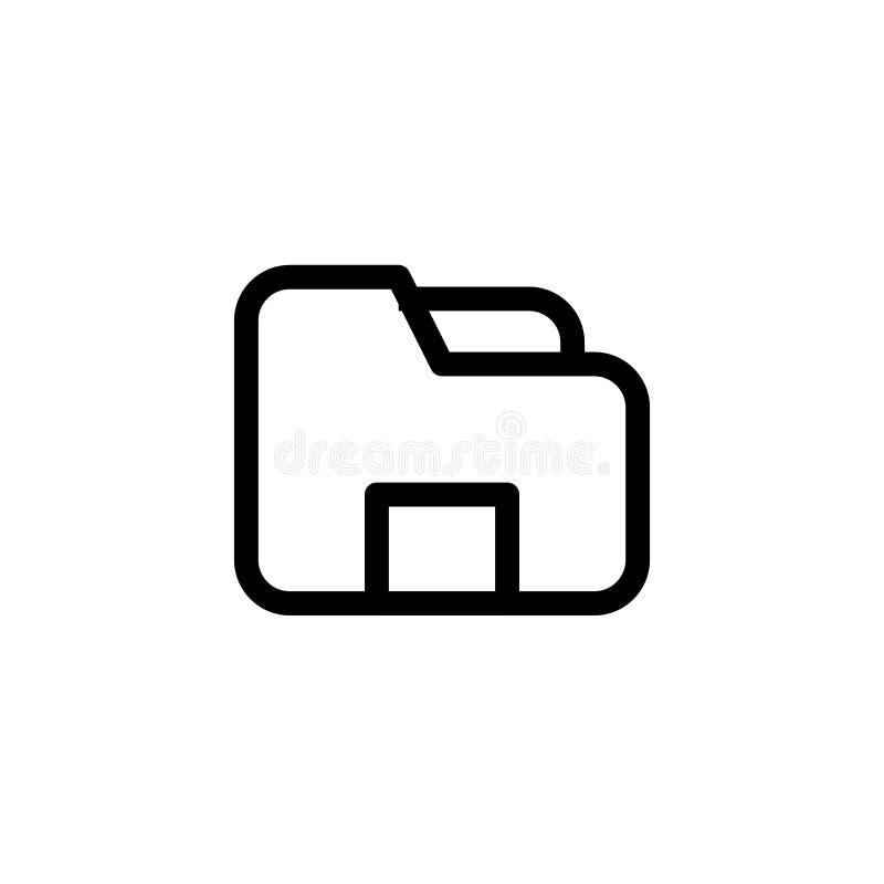 Dateicomputerordner-Ikonenentwurf einfache klare Linie Kunstberufsgeschäftsführungs-Konzeptvektor-Illustrationsentwurf lizenzfreie abbildung