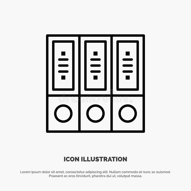 Dateien, Archiv, Daten, Datenbank, Dokumente, Ordner zeichnen Ikonen-Vektor stock abbildung