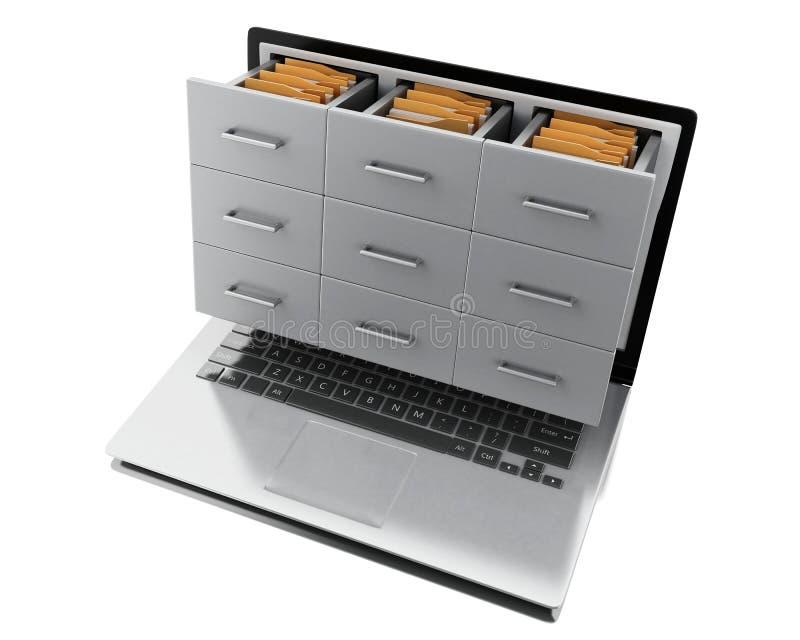 Dateien 3d und Ordner im Laptop stock abbildung