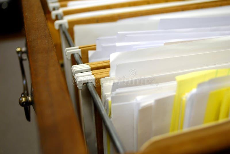 Dateien im Filedrawer stockfoto