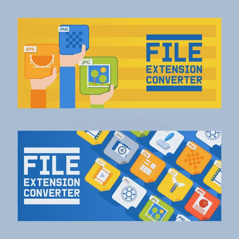 Dateiextensions-Konvertersatz der Fahnenvektorillustration Audio, Foto, Bild, Wortdateiart Dokumentaufbau lizenzfreie abbildung