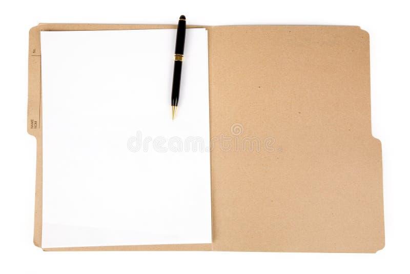 Dateifaltblatt und -feder lizenzfreies stockfoto