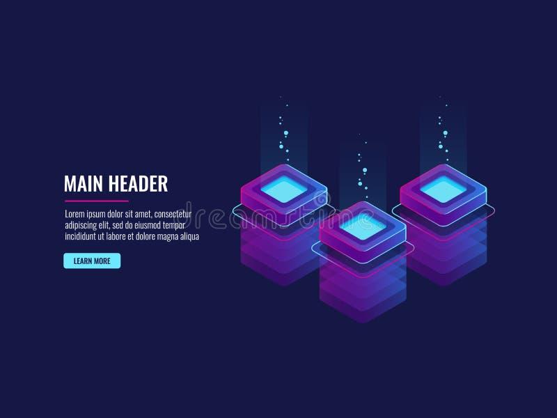 Datenübertragung und Verfahrenstechnik, Serverraum bigdata Codedarstellung Futuristisches Netz lizenzfreie abbildung