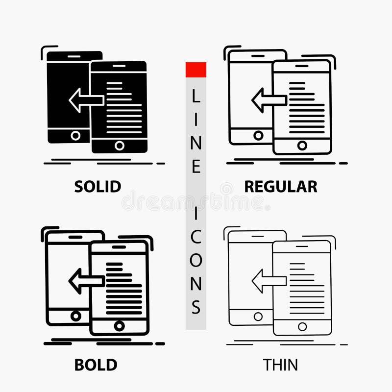 Daten, Übertragung, Mobile, Management, Bewegungs-Ikone in der dünnen, regelmäßigen, mutigen Linie und in der Glyph-Art Auch im c vektor abbildung