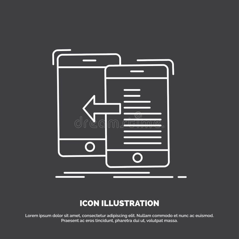 Daten, Übertragung, Mobile, Management, Bewegungs-Ikone Linie Vektorsymbol f?r UI und UX, Website oder bewegliche Anwendung vektor abbildung