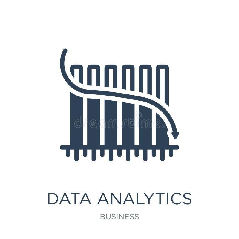 Daten Analytics-Balkendiagramm mit Nachkommelinie Ikone in der modischen Entwurfsart Daten Analytics-Balkendiagramm mit Nachkomme vektor abbildung