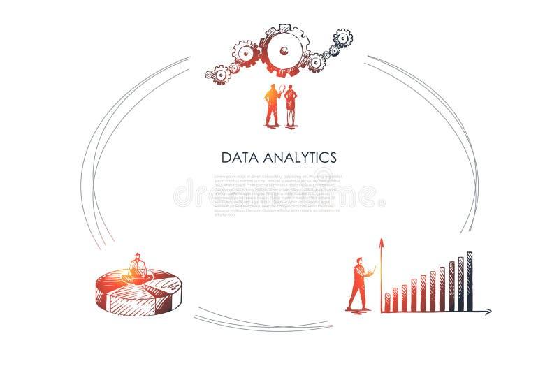 Daten Analytics - Gesch?ftsleute, die Datenzeitplan und -gang betrachten und Od-Diagrammvektor-Konzeptsatz sitzen lizenzfreie abbildung