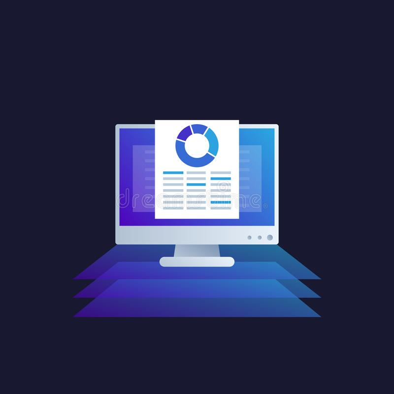 Daten Analytics, Handelsnachrichten, Tabelle stock abbildung