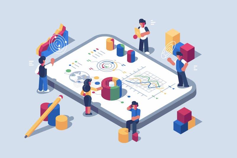 Daten Analytics-Systemsoftware für tragbare Geräte lizenzfreie abbildung