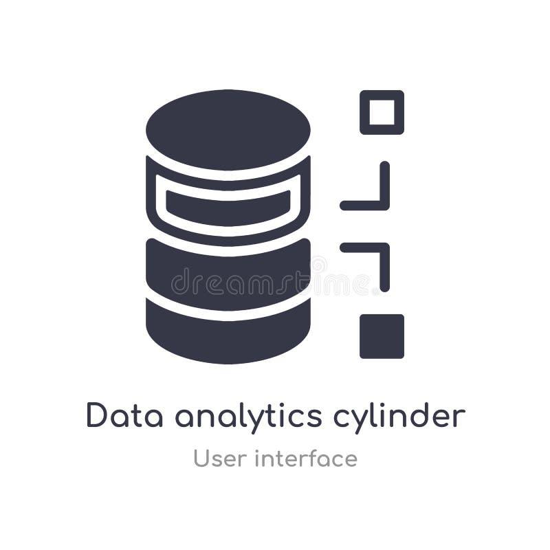 Daten Analyticszylinder-Entwurfsikone lokalisierte Linie Vektorillustration von der Benutzerschnittstellensammlung editable Haars stock abbildung