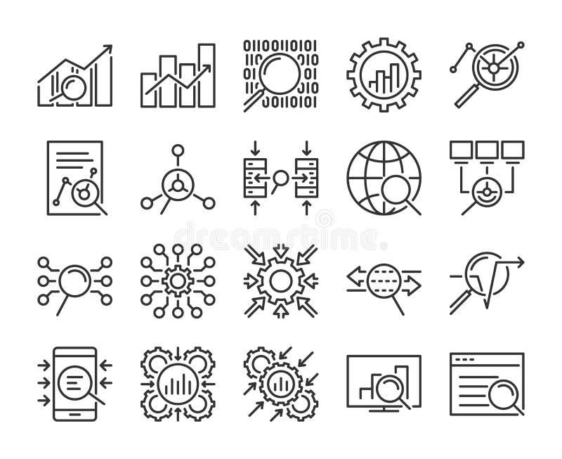 Daten-Analytik-Ikone Datenanalyselinie Ikonensatz Editable Anschlag Pixel perfekt lizenzfreie abbildung
