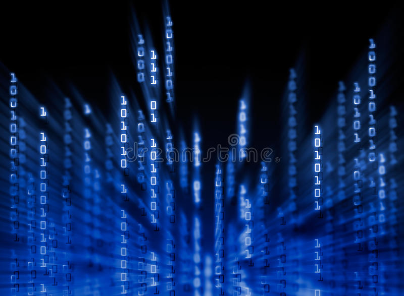 Daten des binären Codes, die auf Bildschirmanzeige fließen vektor abbildung