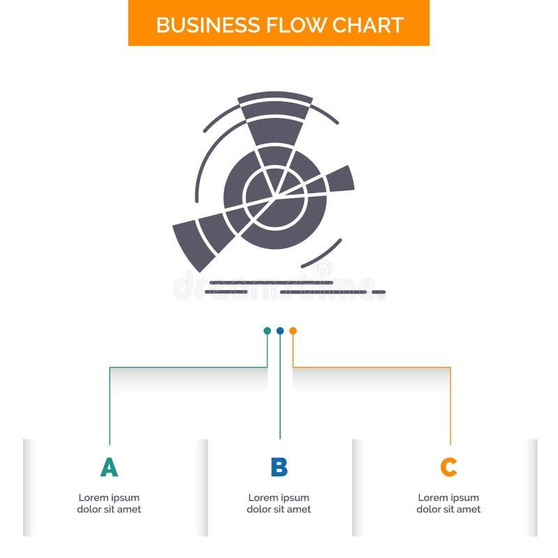 Daten, Diagramm, Leistung, Punkt, Bezugsgeschäfts-Flussdiagramm-Entwurf mit 3 Schritten Glyph-Ikone f?r Darstellungs-Hintergrund stock abbildung
