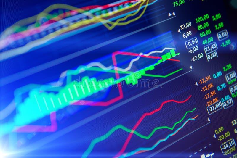 Daten, die im Devisenmarkt analysieren: die Diagramme und die Zitate auf Anzeige lizenzfreie stockfotos