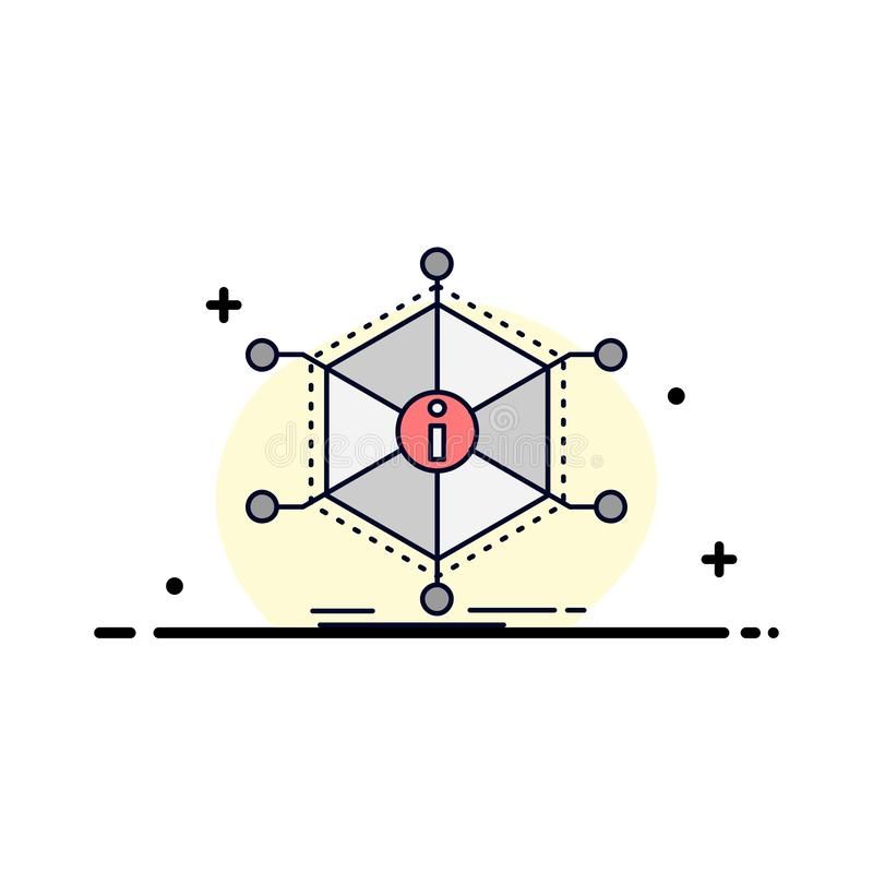 Daten, Hilfe, Informationen, Informationen, Betriebsmittel flacher Farbikonen-Vektor vektor abbildung