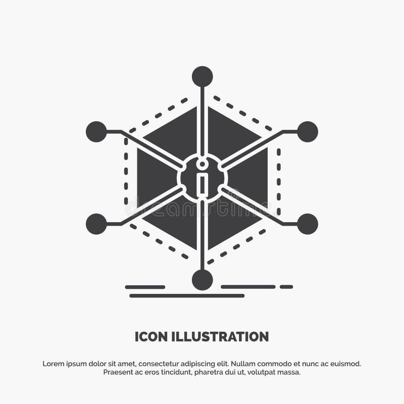 Daten, Hilfe, Informationen, Informationen, Betriebsmittel Ikone graues Symbol des Glyphvektors f?r UI und UX, Website oder beweg lizenzfreie abbildung