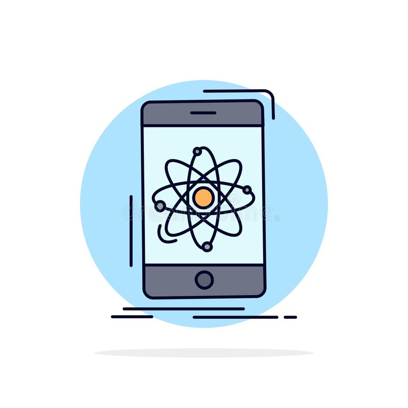 Daten, Informationen, Mobile, Forschung, Wissenschaft flacher Farbikonen-Vektor stock abbildung