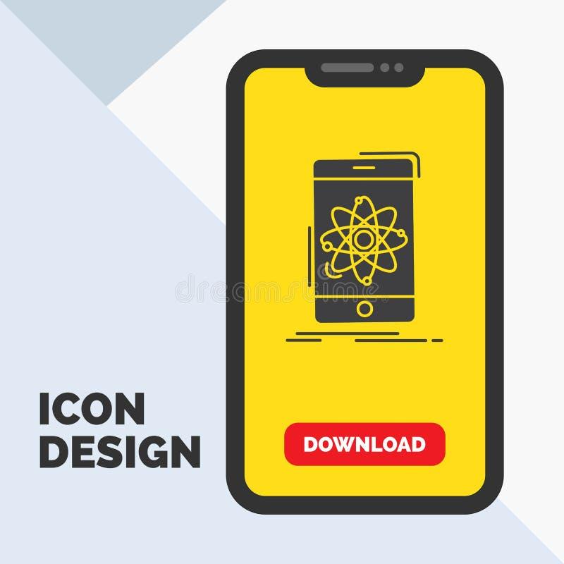 Daten, Informationen, Mobile, Forschung, Wissenschaft Glyph-Ikone im Mobile für Download-Seite Gelber Hintergrund lizenzfreie abbildung