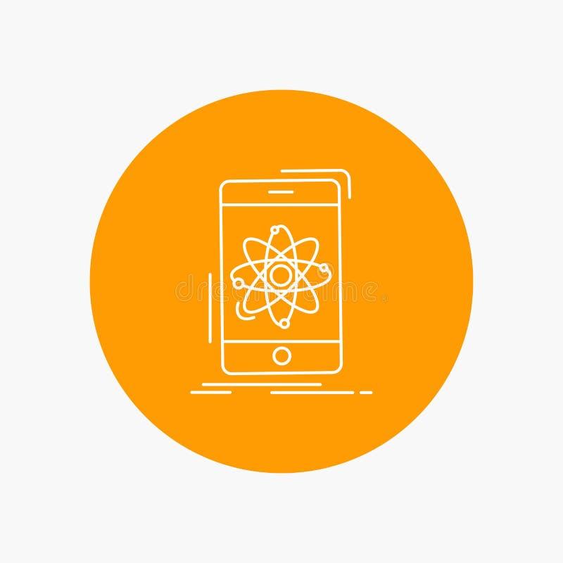 Daten, Informationen, Mobile, Forschung, Wissenschaft weiße Linie Ikone im Kreishintergrund Vektorikonenillustration vektor abbildung