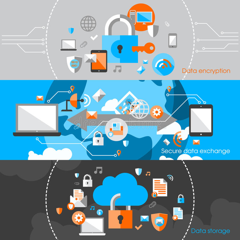 Daten-Schutz-Sicherheits-Fahnen lizenzfreie abbildung