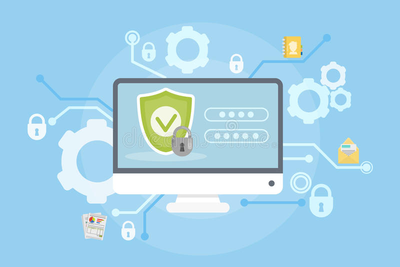 Daten und Computerschutz lizenzfreie abbildung