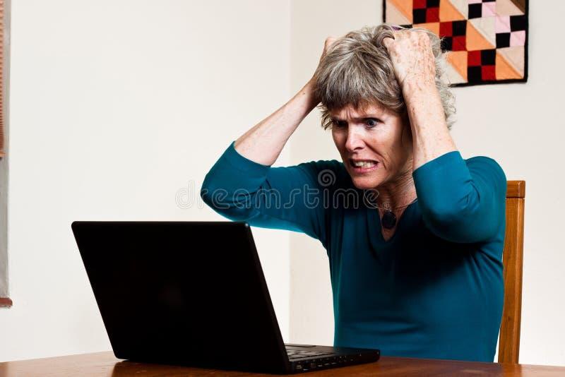 Daten-Verlust: Ihr Haar heraus zerreißen lizenzfreies stockbild