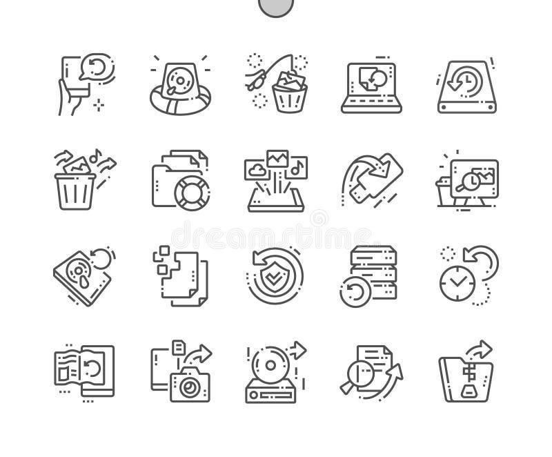 Daten-Wiederaufnahme Gut-machte Pixel-perfekter Vektor-dünne Linie Gitter 2x der Ikonen-30 für Netz Grafiken und Apps in Handarbe stock abbildung