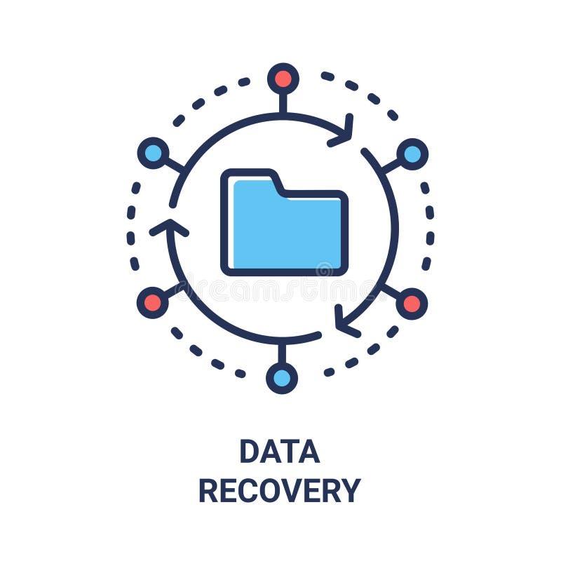 Daten-Wiederaufnahme - moderne Vektorlinie einzelne Ikone des Designs lizenzfreie abbildung