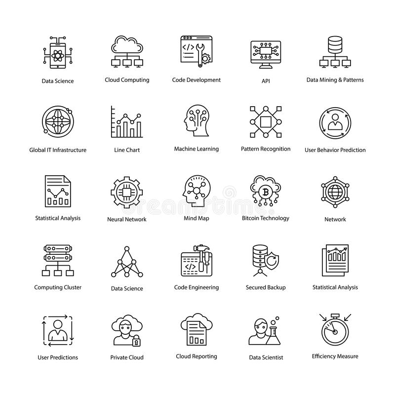 Daten-Wissenschafts-Linie Vektor-Ikonen eingestellt lizenzfreie abbildung