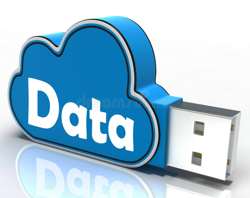 Daten-Wolken-USB-Stick zeigt Digital-Dateien und vektor abbildung