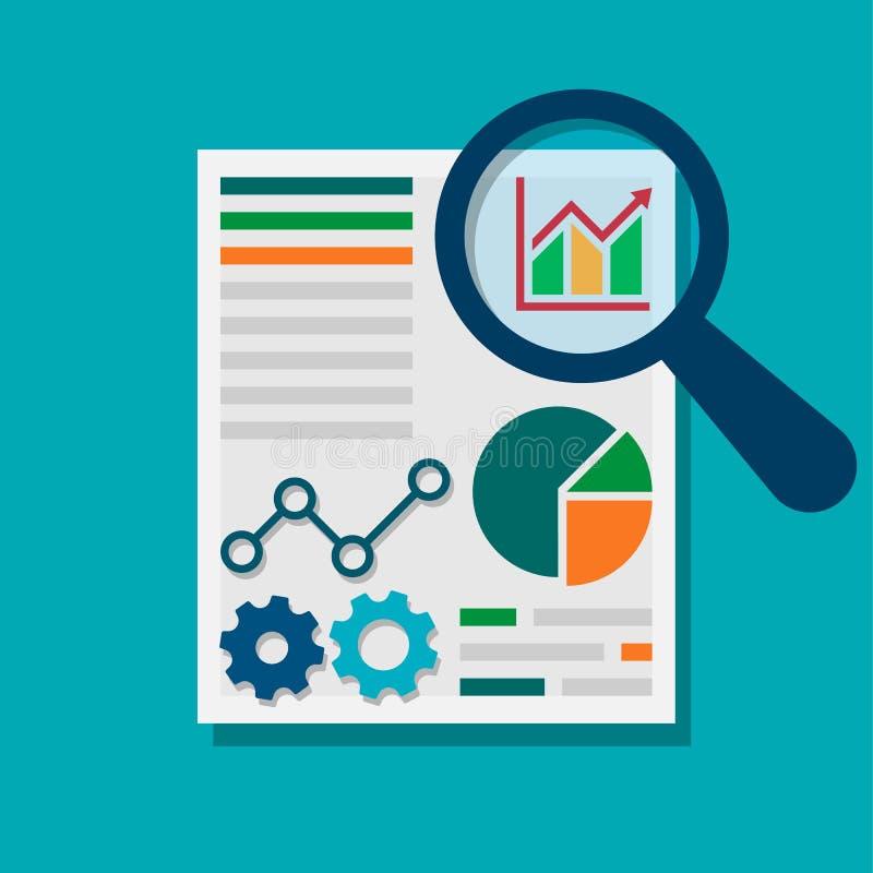Datenanalyse-Konzept des Entwurfes Getrennt auf wei?em Hintergrund Auch im corel abgehobenen Betrag lizenzfreie abbildung