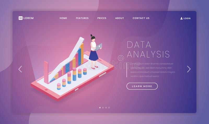 Datenanalyse-Landungsseiten-Vektorschablone Analytische feste Websitehomepage-Schnittstellenidee mit isometrischen Illustrationen stock abbildung