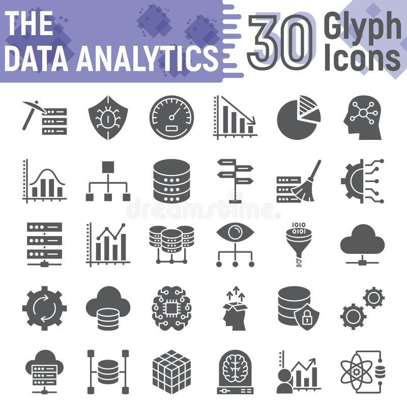 Datenanalytik Glyph-Ikonensatz, Datenbanksymbole lizenzfreie abbildung