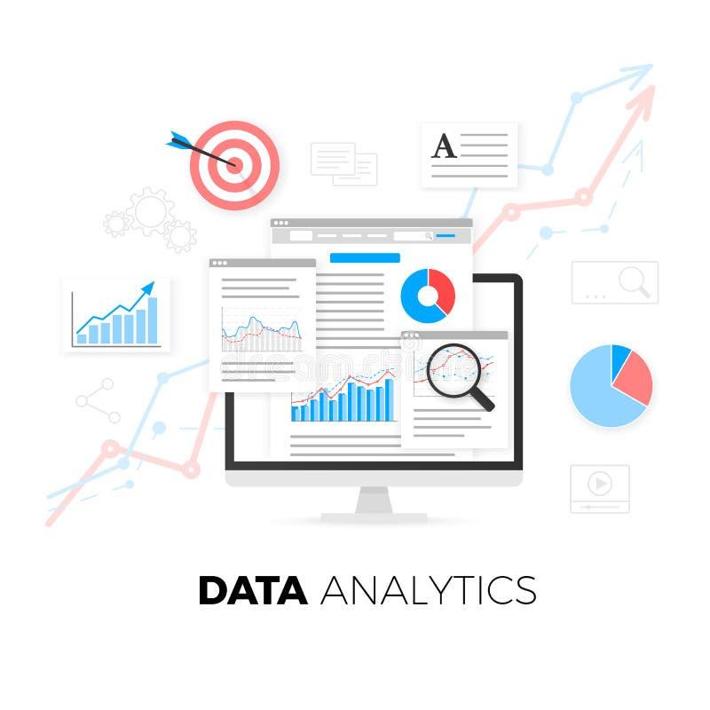Datenanalytikinformationen und Web-Entwicklungs-Websitestatistik Auch im corel abgehobenen Betrag lizenzfreie abbildung