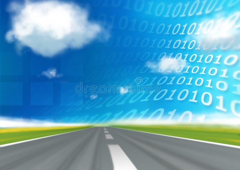 Datenbahn des binären Codes der Drehzahl lizenzfreie abbildung