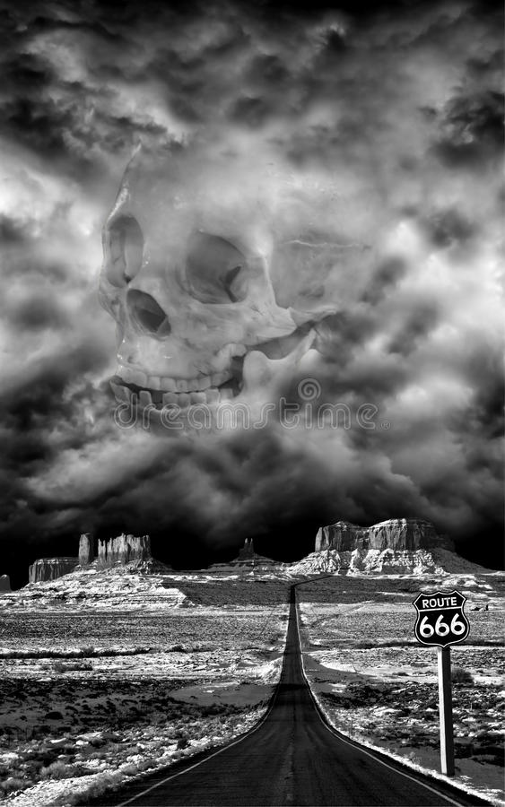 Datenbahn zur Hölle, verlegen 666 Halloween, Übel, Teufel lizenzfreie stockfotografie