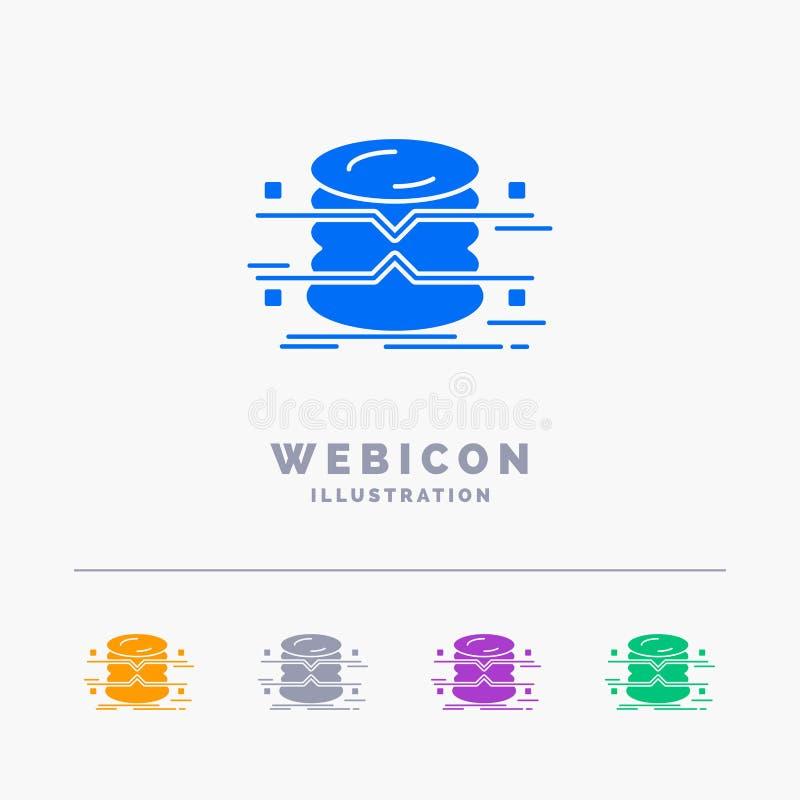Datenbank, Daten, Architektur, infographics, Überwachung 5 Farbeglyph-Netz-Ikonen-Schablone lokalisiert auf Weiß Auch im corel ab lizenzfreie abbildung