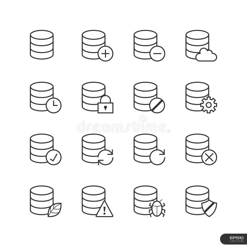 Datenbank-Ikonen eingestellt - Vektorillustration lizenzfreie abbildung