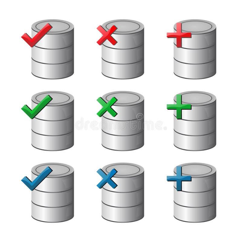 Datenbank-Ikonen-Set stock abbildung
