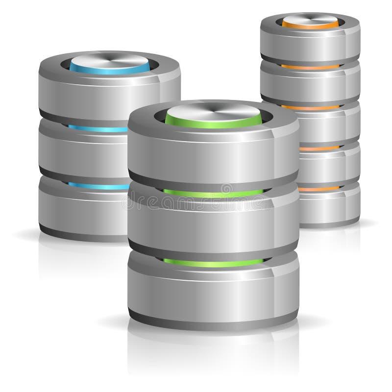 Datenbank und Festplatten-Ikone vektor abbildung