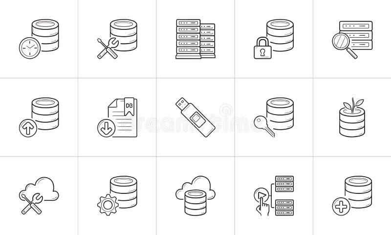 Datenbankhandgezogener Entwurfsgekritzel-Ikonensatz stock abbildung