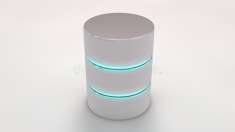 Datenbankikone mit den blauen glühenden Streifen, auf Weiß vektor abbildung